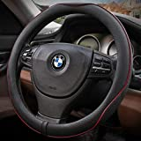 Seniny Steering Wheel Cover for Women & Man, Auto Car Black Steering Wheel Cover with Red Lines, Breathable, Anti-Slip, Odorless, 14.5 to 15 inch Universal Steering Wheel Accessories Fit for Most Car