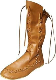 POLP Botas Mujer Planas Invierno con Cordones y Cremallera Vintage Clásicas Zapatos Planos para Mujer Botas altas Casual A...