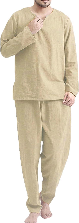 ZHYA Mens Pajama Set Hippie Long Sleeve Pullover T Shirt and Pj Lounge Trousers Sets V-Neck Beach Sleepwear