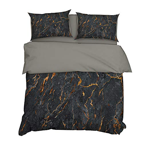 MMHJS 3-Teiliger Bettbezug Aus Mikrofaser 2 Kissenbezüge Bettwäsche Mit Reißverschluss Geeignet Für Einzelbett, Doppelbett 3D-Marmoreffekt