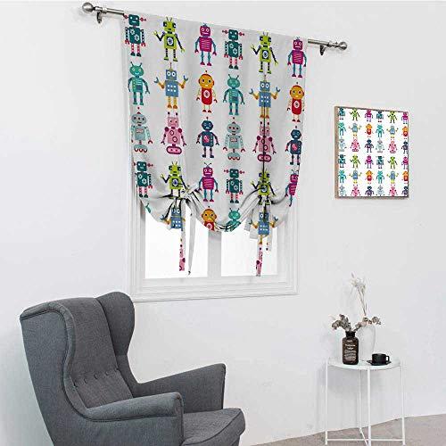 GugeABC Cortinas romanas para ventana de guardera, colorido juego de figuras de robot, divertidas mscaras futuristas amistosas Androides, panel de amarre opaco, multicolor, 35 x 64 pulgadas