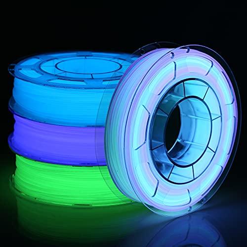 AMOLEN Filamento PLA 1.75, Filamento Stampante 3D, Filamento Glow in the Dark Verde, Blu, Profondo Blu, e Multicolore 5m, Materiale PLA Stampa 3D, 4x200g