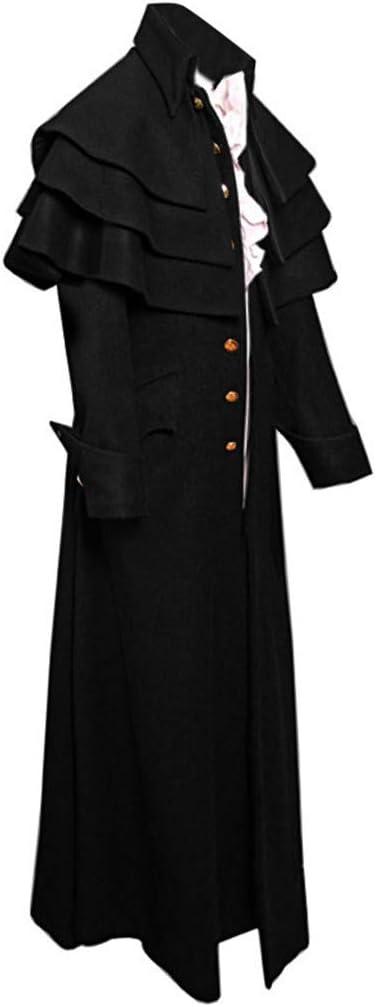 Chaqueta de hombre estilo steampunk gótico, abrigo de manga larga, elegante, capa gruesa, parka larga con asimétrico, para carnaval medium Negro