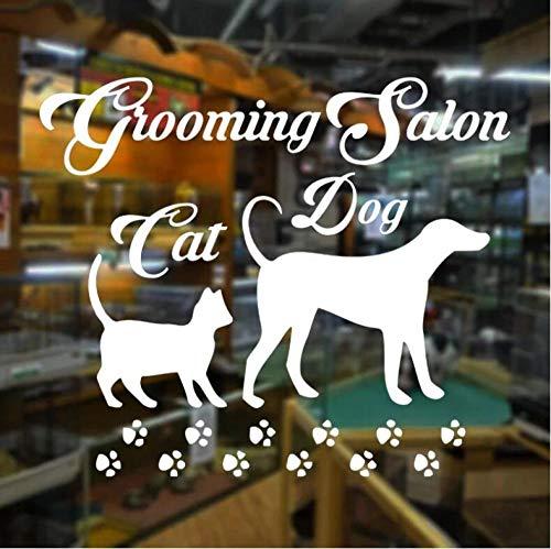 Pegatinas Etiqueta De Pared Blanco Gato Perro Animales Huella Mascota Peluquería Salón Tienda Ventana De Vidrio Vinilo Arte Decoración Del Hogar 67×55cm