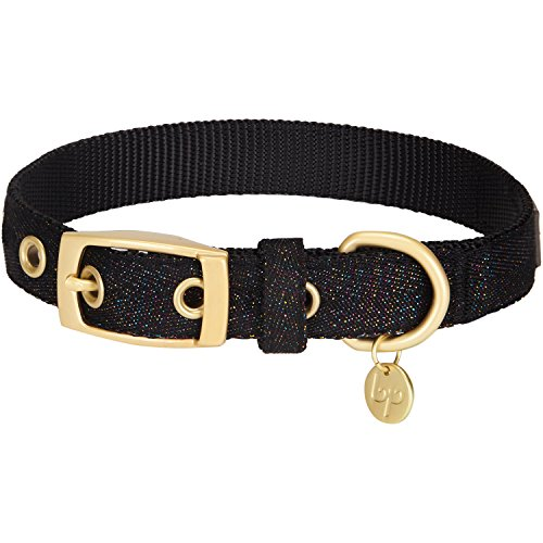 Blueberry Pet Das Begehrteste Designer Misch-Glanzfaden Hundehalsband in Holographisch Glänzend Schwarz mit Metallschnalle, S, Hals 23cm-32cm, Verstellbare Halsbänder für Hunde