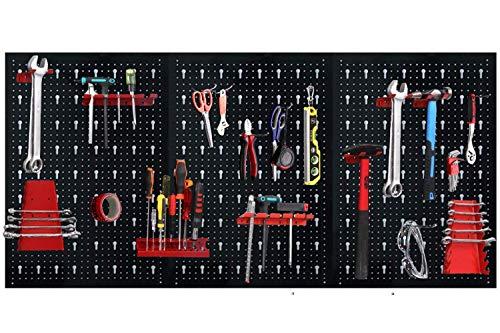 UISEBRT - Panel perforado para herramientas (metal, 3 piezas, con 17 ganchos, para taller, estantería de pared, banco de trabajo)