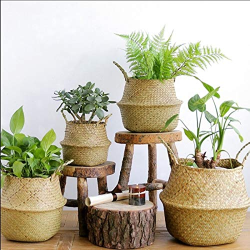 KEHUITONG Flower Pot Planter Home Garden Zeegras Wickerwork Basket Rattan Opvouwbare Opknoping Flower Planter Wasmand Storage Basket (Size : Medium)