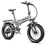 Eahora X5Plus 750W Electric Bike Fat Tires Folding Electric Bike for Adults with 48V 10.4AH Lithium Battery,Full Suspension, Hydraulic Brakes, Shimano 8-Speed Shifter, Cruise Control