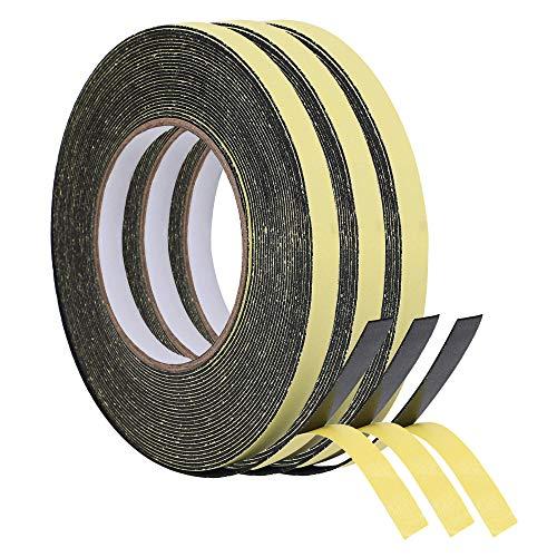 KURASHI 高密度クッション隙間テープ 3本セット 防水 パッキンテープ 防風 防音 雨戸 サッシ 幅15mm 厚み3mm(5m)