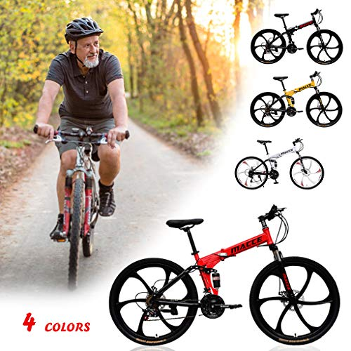 Mountain Speed Gear Bike PC Pedal Bicycle with Stylish Rims,High-end Suspension & High Carbon Steel Shock-absorbing Folding Frame Bike,ATA No-positioning Tower Wheel Rear Disc Brakes Bicycle (Black)