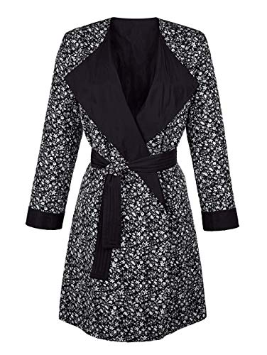Alba Moda Damen Mantel in Schwarz mit Wendefunktion und Bindegürtel