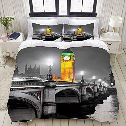 Bedding Juego de Funda de Edredón - El Big Ben, la Casa del Parlamento y el Puente de Westminster en la Noche, Londres, Gran Bretaña. - Microfibra Funda de Nórdico y Fundas de Almohada