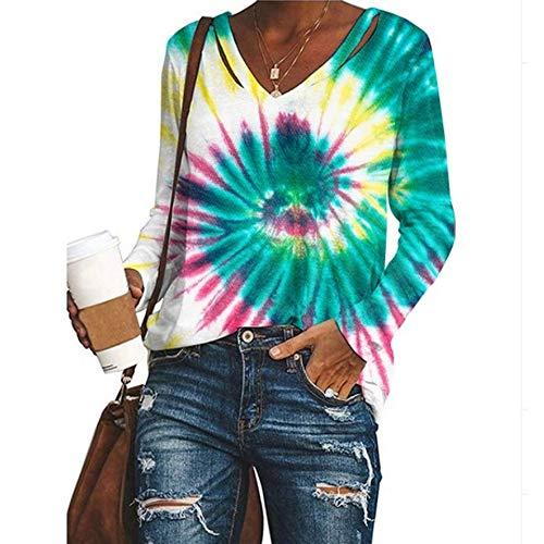Herbstliches Neues Damen-T-Shirt Mit V-Ausschnitt Und V-Ausschnitt Und Langem ÄRmel
