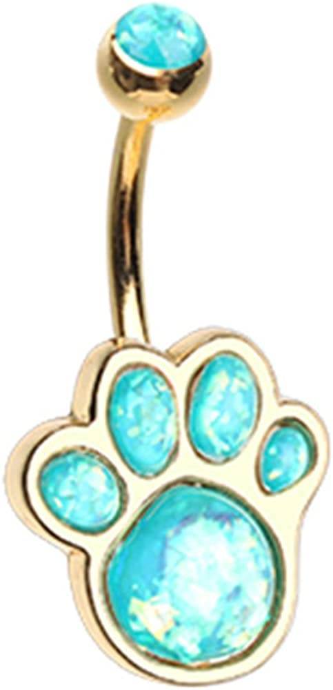 Inspiration Dezigns Belly Button Navel Ring Animal Lover Synthetic Opal Paw Print 14G