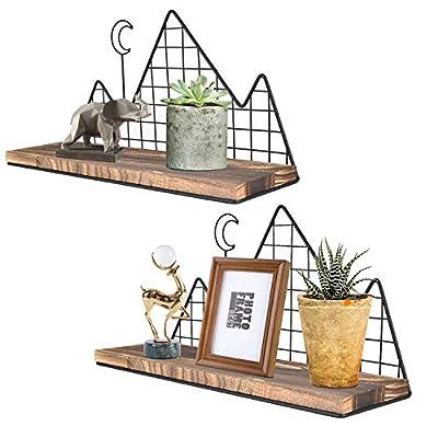 Homode Floating Shelves Wall Mounted, Set of 2 Rustic Wood Storage Shelves Display Racks for Nursery Bedroom Bathroom Kitchen Office, Mountain Metal Wire Design