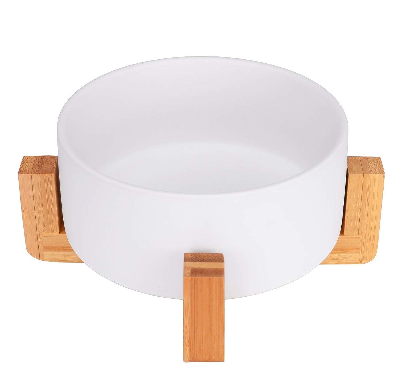 V-Dank ペット ボウル 猫 食器 陶器 大容量 750ML ウォーター ボウル 犬猫用 餌入れ 水入れ フードボウル 木製 ペット皿 滑り止め 安定感 取り外し可能 手入れ簡単 ペット用品 (ホワイト)