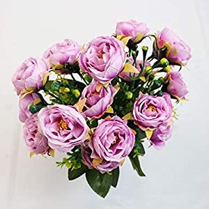 PLAN LIFE Artificial Flowers Silk Small Peony with Gypsophila 20 Heads Fake Flowers Elegant Home, Office, Wedding, Garden Decoration, Pack of 2 – Small Peony (Purple)