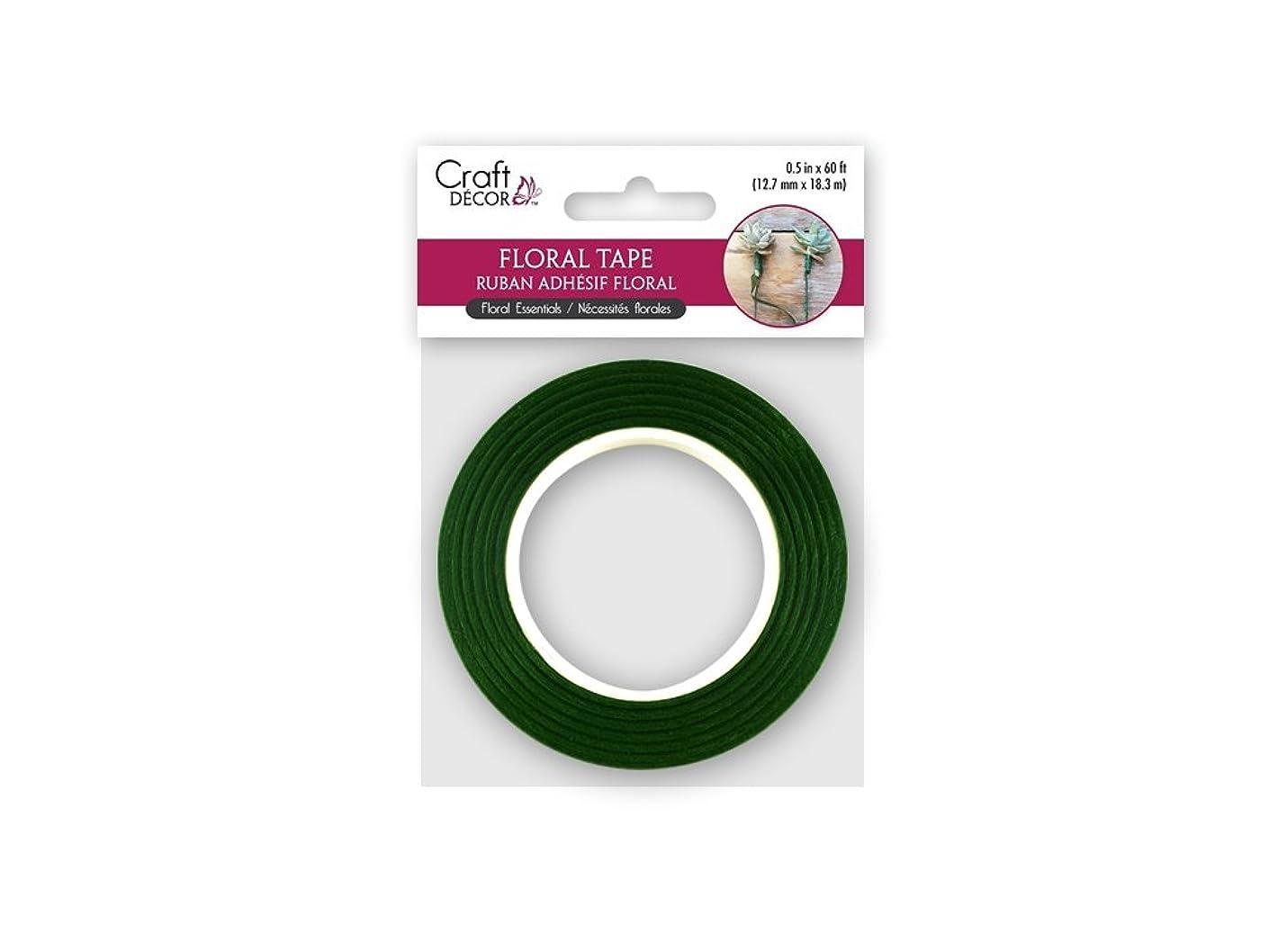 Craft Décor FL013A Floral Tape Stem Wrap: 0.5in x18.2m, Green