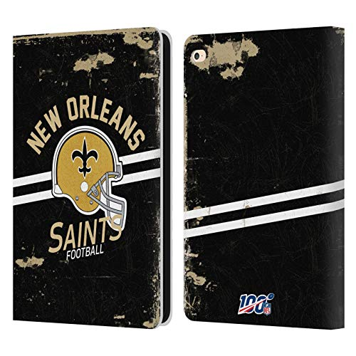 Head Case Designs Oficial NFL Casco Distressed Look 100th 2019/20 Santos de Nueva Orleans Carcasa de Cuero Tipo Libro Compatible con Apple iPad Air 2 (2014)