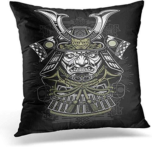 jindufabaihuodian Kussensloop Hoesje Tattoo Samurai Japanse Japan Ninja Masker Helm Decoratieve Kussensloop Kussensloop voor Slaapbank Auto 16 x 16 Inch