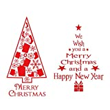 VINFUTUR Pegatinas Navideñas Ventana, 2 Juego de Pegatinas Escaparate Navidad Pegatinas Decorativas para Ventana y Pared Adornos Navideños en Forma Árbol