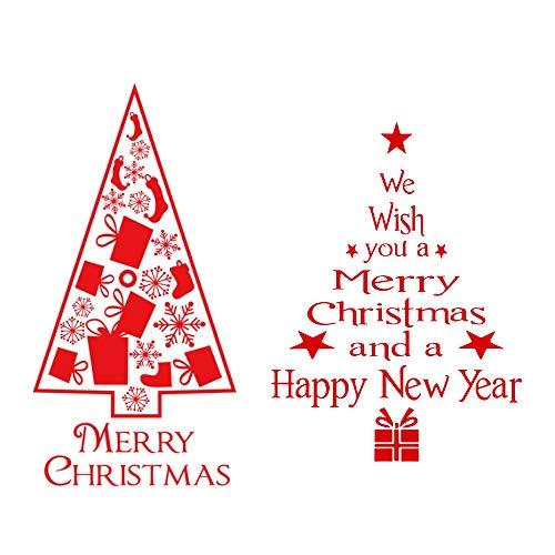 VINFUTUR 2 Set Weihnachtsbaum Fensterbilder Weihnachten Fensteraufkleber Entfernbare Fenstersticker Fensterdeko Wandtattoo Weihnachtsdeko Winterdeko