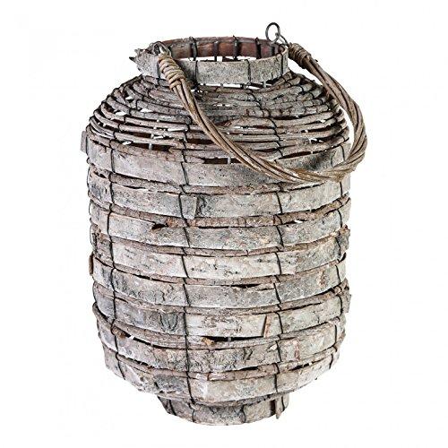 Lantaarn windlicht willow wood stormlight rond met glazen inzetstuk - Afmetingen: 40.0 x 25.0 x 25.0 cm