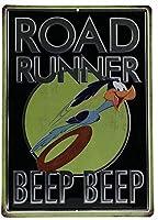 アメリカ雑貨 ブリキ看板 ロードランナー ROAD RUNNER ワーナー ルーニー・テューンズ 雑貨 壁掛け 人気 ヴィンテージ風 アメリカン雑貨 サインプレート インテリア ガレージ ポスター ブリキ 看板 おしゃれ
