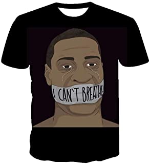 Yunbai Black Lives Matter Shirt Together We Rise - I Can't Breathe Printed 3D T-shirt Short Sleeves for Men and Women T-shirts (Color : Black, Size : 6XL)