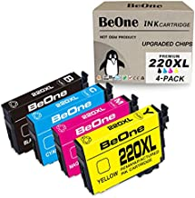 BeOne 220XL 4-Pack Remanufactured Ink Cartridge Replacement for Epson 220 XL T220 T220XL to Use with Workforce WF-2750 WF-2760 WF-2630 WF-2660 WF-2650 Expression Home XP-420 XP-424 Printer (BK C M Y)