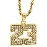 Jewel Town Mens 14k Gold Plated #23 Basketball Pendant 24' Rope Chain Hip Hop Necklace D472