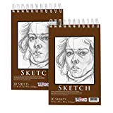 U.S. Art Supply 5.5' x 8.5' Premium Heavy-Weight Paper Spiral Bound Sketch Pad, 90 Pound (160gsm), Pad of 30-Sheets (Pack of 2 Pads)