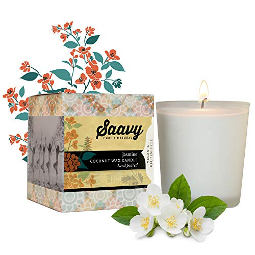 Saavy Naturals Coconut Oil Scented Candle | Organic Wax for Clean Burn, No...