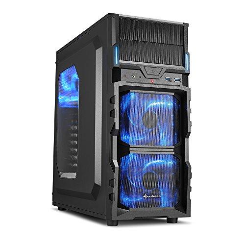 """Sharkoon VG5-W - Caja de ordenador gaming (semitorre ATX, iluminación y lacado interior AZUL, lateral acrílico, incluye 3 ventiladores LED, 2 bahías de 5,25""""), negro"""