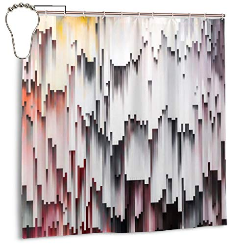 Jacklee Glitch White Mauve Abstract Duschvorhang 180 * 180cm Anti-Schimmel & Wasserabweisend Shower Curtain mit 12 Duschvorhangringen 3D Digitaldruck