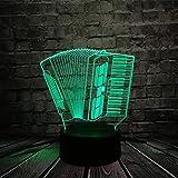 ZZCCFF Instrumento de música Acordeón 3D USB LED Luz de noche,Lámpara romántica de 7 colores,Decoración de mesa Juguetes para niños Regalo
