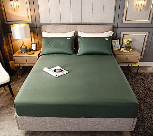 HPPSLT Protector de colchón, algodón, poliéster, Sábana de Cama Color Puro algodón-Verde Claro_150cm × 200cm