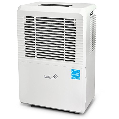Ivation 3,000 Sq Ft Energy Star Dehumidifier - Large-Capacity - Includes Programmable Humidistat, Hose Connector, Auto Shutoff/Restart, Casters & Washable Air Filter, White