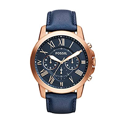 Fossil Men's Grant Quartz Stainless Steel and Leather Chronograph Watch, Color: Rose Gold, Navy (Model: FS4835IE)