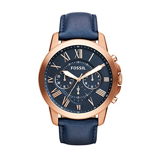Fossil Men's Grant Quartz Stainless Steel and Leather Chronograph Watch, Color Rose...