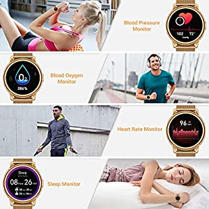 CanMixs Smart Watch for Android Phones iOS, Fitness Tracker Digital Watch with Heart Rate Blood Oxygen Sleep Monitor IP68 Waterproof Smart Watches for Women Men Smartwatch Compatible iPhone Samsung