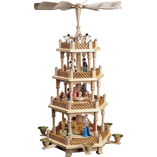Glässer Christmas Pyramid 16723 rotating nativity scene, hand-crafted wood, height: 54 cm