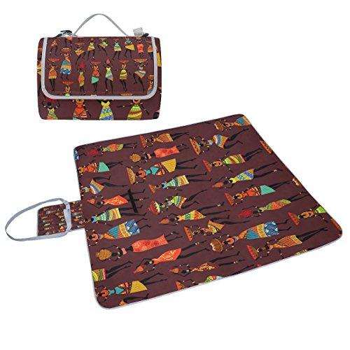 COOSUN Afrika Mädchen Picknick Decke Tote Handlich Matte Mehltau resistent und wasserfest Camping Matte für Picknicks, Strände, Wandern, Reisen, Rving und Ausflüge