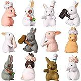 12 Piezas Decoraciones de Jardín de Personajes Animales Conejitos Lindas Toppers de Pastel Magdalena de Conejo Adorno de Conejito para Niñas o Niños Fiesta Baby Shower Cumpleaños