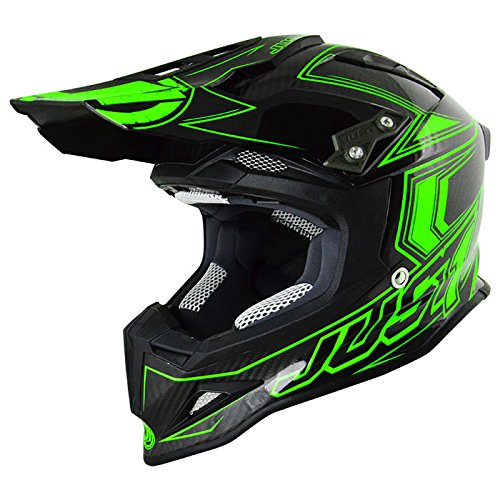 Just 1 Helmets 606320080101604 Casco J12 Carbon Fluo Verde, M