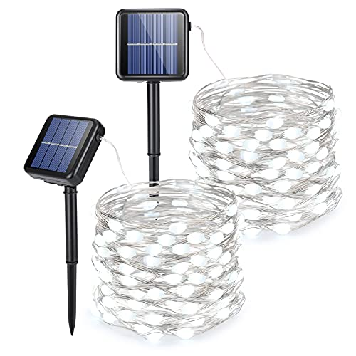 Solar String Lights [2 Pack] Each 39ft 100 LED Solar Fairy Lights Outdoor Waterproof 8 Modes Outdoor String Lights Decoration Garden Patio Tree Wedding Party Outdoor Gazebo Solar Twinkle Lights(White)