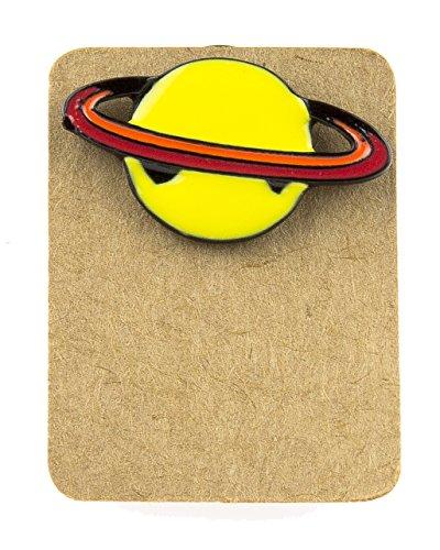 Urbangift Emaille-Anstecknadel Saturn Planet gelb