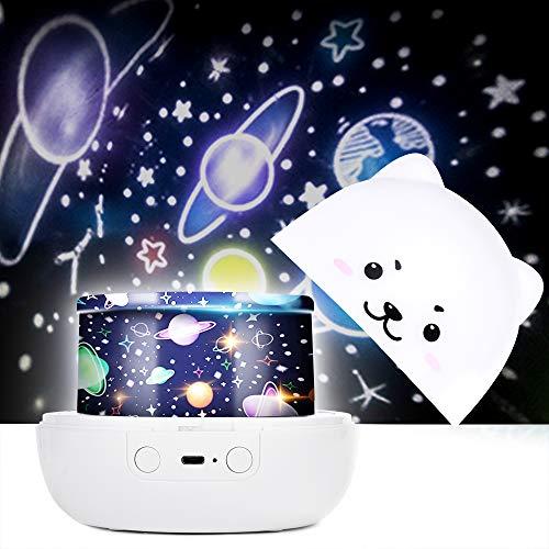 Apark Sternenhimmel Projektor für Kinder, USB Baby Nachtlicht LED, rotierende LED-Nachtlicht-Lampe mit Spieluhr und 6 bunten Lichtern für Baby- und Kinderzimmer, Schlafzimmer Dekoration