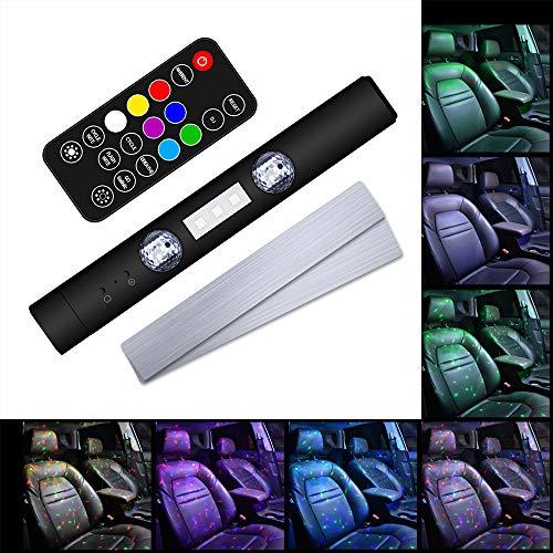 Luces LED Interior de Coche Inalámbricas, Iluminación Atmósfera Interior de Coche USB Recargable, Decoración de Lámpara con Multi DIY Colors, Sincronización de Música