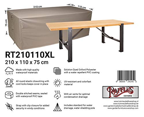 Raffles Covers NW-RT250110XL Protective cover for a garden table 250 x 110 H: 75 cm Cover for garden table, Outdoor cover for table, Cover for patio table
